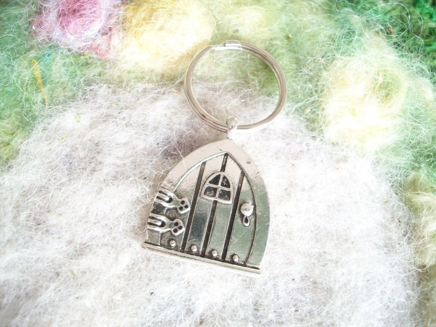 Silver fairy door key ring key chain for Fairy door with key