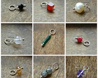 Sterling Silver Gemstone Dangles - Pearls, Black Onyx, Ruby, Citrine, Amethyst & Many More
