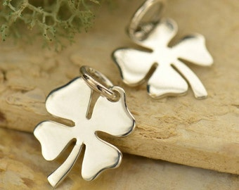 Four Leaf Lucky Clover  Sterling Silver Charm - Good Luck Charms, C979