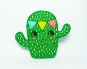 Spirited Cactus Wearing a Bunting Felt Brooch / Party Felt Cactus Brooch / Succulent Felt Brooch / Cactus Felt Brooch - made to order