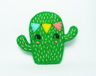 Spirited Cactus Wearing a Bunting Felt Brooch / Party Felt Cactus Brooch / Succulent Felt Brooch / Cactus Felt Brooch - made to order