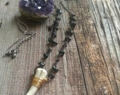 Onyx and Deer Antler Necklace