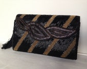 Beaded Gold And Black Evening Vintage Clutch Purse Handbag