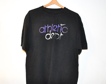 1990s Sporty Athletic Dept Black Tee T Shirt
