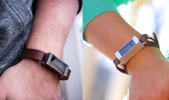 Fitbit Flex Handmade  Leather Band, Agate Stone, and Sterling Silver Bracelet Wristband for Men or Women