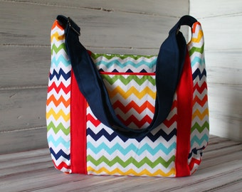 Rainbow Chevron Devlin Hobo Purse with zipper closure