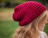 Vegan Bamboo Scarlet Red Knitted Warm Folk Slouch (Ready to Ship)