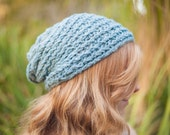 Vegan Bamboo Soft Baby Blue Knitted Cozy Folk Slouch (Ready to Ship)