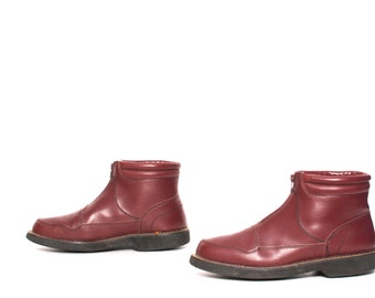 mens size 10 HERITAGE oxblood leather 80s 90s RUSTIC SHERPA ankle boots