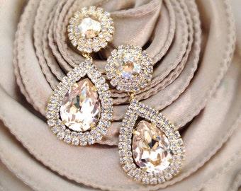 Swarovski Bridal Earrings- Crystal Drop Earrings- Bridal Earrings- Crystal Earrings- Chandelier Bridal Earrings
