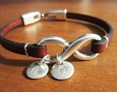PERSONALIZED INFINITY BRACELET |Medium brown leather bracelet with silver infinity  bracelet personalized initials charms