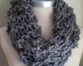 Gray Tweed Cowl Scarf, Infinity Scarf, Knit Fall Scarf, Loop Scarf, Mobius Scarf, Fashion Knitwear, Winter Essentials, Pewter Gray