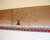 """LARGE wall art hanging triptych cherry blossom tree of life original painting canvas oil landscape office abstract schilderijen 48 x 20"""""""