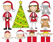 Christmas Family Stick Figures Cute Digital Clipart for Card Design, Scrapbooking, and Web Design