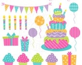 Happy Birthday Cake Cute Digital Clipart for Commercial or Personal Use, Birthday Cake Clipart, Birthday Clipart, Balloons, Candles