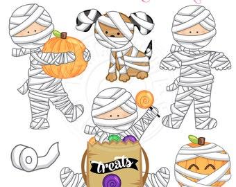 Little Mummys Cute Digital Clipart - Commercial Use OK - Halloween Mummy Clipart - Halloween Clipart - halloween, Mummy Graphics