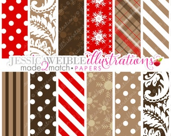 Made to Match: Hot Cocoa Bar Digital Papers Backgrounds - Commercial Use OK - Brown Plaid, Red Polka Dots, Brown Damask Pattern