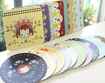 20 Hard Paper Coasters Sets / Circle & Square  - Flower Anne (3.9in)