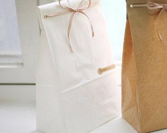 30 Basic White Paper Bags - M size (6 x 10.6in)