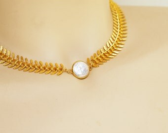 Freshwater Pearl w Gold Fishbone Chain Necklace Bridesmaids Jewelry