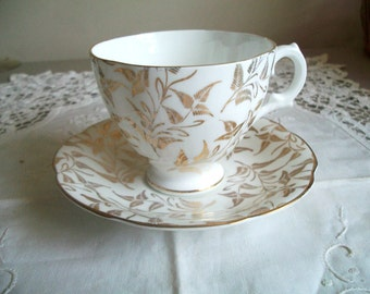 Royal Stuart Spencer Stevenson White and Gold Antique Bone China Cup and Saucer England