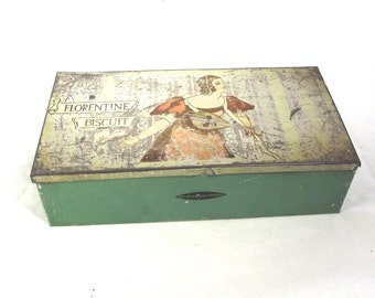 Vintage Biscuit Tin, Illustrated Florentine Biscuit Box with Hinged Lid