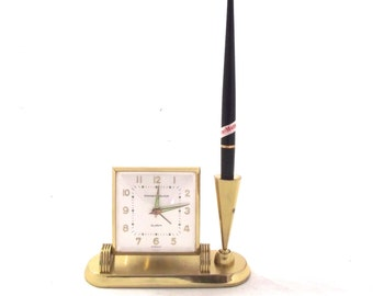 Sale 50% Off, Alarm Clock Pen Set, Vintage Phinney-Walker Brass Colored Desk Set in Box