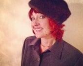vintage fur pillbox hat / 1960s mink / sable brown madmen HILLARY