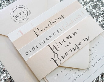 Square Bronson Wedding Invitation Suite with Belly Band - Pewter Grey, Blush Pink, Ivory (colors/text customizable)