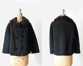 vintage 50s 60s persian lamb coat - faux persian lamb fur - double breasted - real fur collar - Size Medium - swing coat