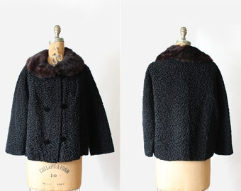 vintage 50s 60s persian lamb coat - faux persian lamb fur - double breasted - real fur collar - Size Medium - swing coat