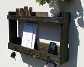 Rust Entryway Organizer 3 Hook Coat Rack with Shelf and Mail Phone Key Organizer, Ebony Finish