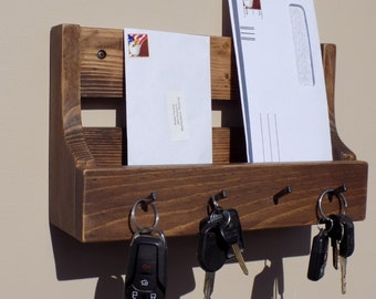 Handmade Rusic Entryway Mail And Key Holder Dark Walnut Finish