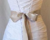 Taupe Double Face Satin Ribbon, 1.5 Inch Wde Ribbon Sash, Bridal Sash, Wedding Belt, 4 Yards
