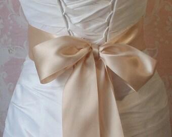 Double Face Peach Blush Satin Ribbon, 2.25 Inch Wde, Ribbon Sash, Bridal Sash, Wedding Belt, 4 Yards