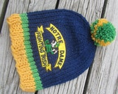 NOTRE DAME, Notre Dame Baby, Hand Knit Baby Hat, Fighting Irish, Baby Hat, Notre Dame Hat, Knitted Baby Hat, Notre Dame Knit Hat, Irish