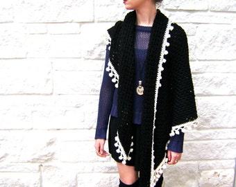Midnight Granny Shawl with Pom Pom Fringe Crochet Pattern - Easy Pattern