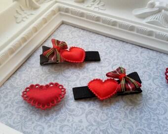 Valentine's Day Clippie Set, Red Heart Hair Bow Clippie Set, Heart Hair clippies,