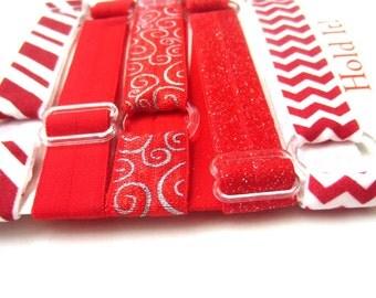 Set of 5 Red Adjustable Elastic Headbands, Hair Band, Baby Headband, Toddler Headband, Adult Headband, Sport Headband, Running Headband