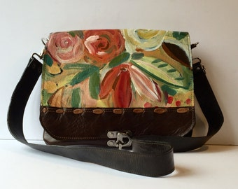 """Leather messenger bag, hand painted, brown,gold and red floral,"""" the Uptown"""""""