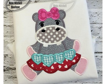 Hippo Valentine applique