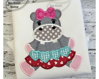 Hippo Valentine applique