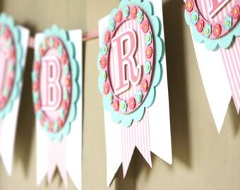 Baby Banner, Baby Name Banner, Nursery Banner, Baby Shower, Shabby Chic Banner, Spring Banner