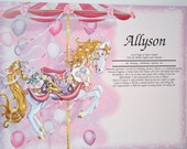 Personalized  Your Child's NAME MEANING GIRL Gift Carousel Horse  8.5 X 11 Ships in 24hrs