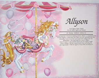 GIRL PERSONALIZED GIFT First Name Meaning Girl  Gift Carousel Horse 8.5 X 11 Ships Free in 24hrs