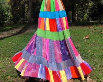 HIPPIE BOHO SKIRT for Gypsy dance costume. Multicolor patch patchwork fashion exotic new Size L