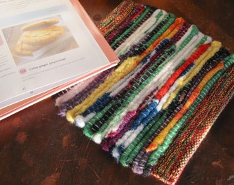 Rainbow Hand Woven Kitchen Pot Holder or Hot Mat Recycled Wool Rag, Rustic Cabin Cottage Farmhouse Home Decor, Gift for Mom Baker Cook
