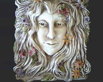 Spring Maiden Wall Plaque Hanging Small Forest Summer Flowers Girl  Renaissance Woman Nature Fantasy Nymph Face Celtic Home Garden Decor