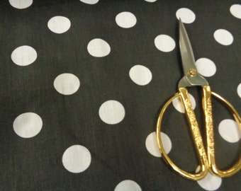 "60"" width 1"" size white 100% cotton white polka dots on black background fabric"