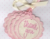 Baby Shower Thank You Tags / Gift Tags / Shower Favor Tags / Labels / New Baby / Baby Girl Tags / Pink / Set of 20  - Vintage Style